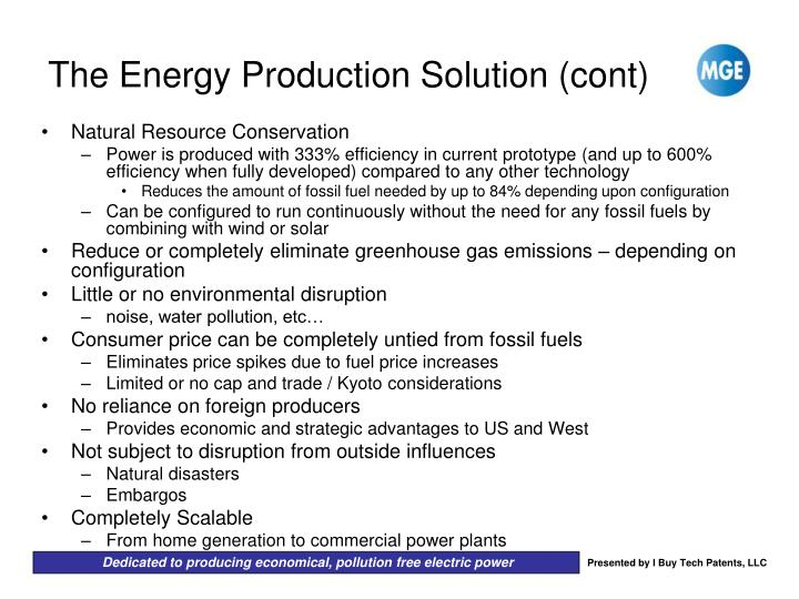 The Energy Production Solution (cont)