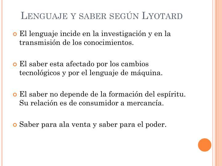 Lenguaje y saber según Lyotard