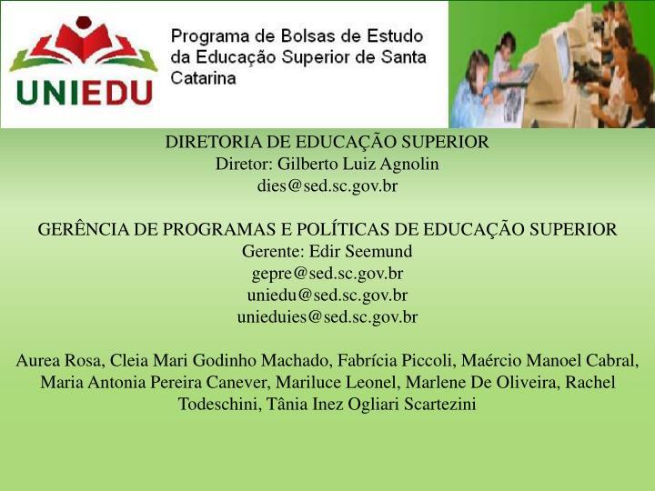 DIRETORIA DE EDUCAÇÃO SUPERIOR