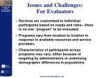 issues and challenges for evaluators