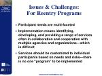 issues challenges for reentry programs