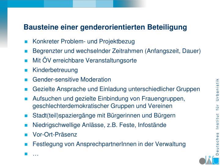 Bausteine einer genderorientierten Beteiligung