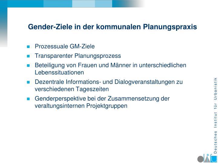 Gender-Ziele in der kommunalen Planungspraxis