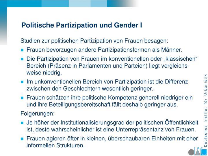 Politische Partizipation und Gender I