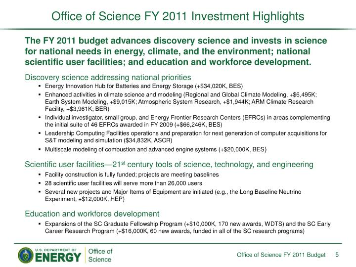 Office of Science FY 2011 Investment Highlights