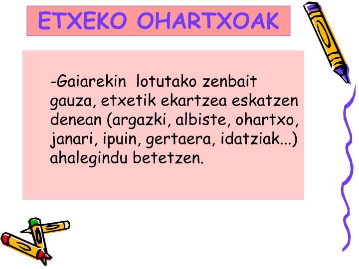 ETXEKO OHARTXOAK