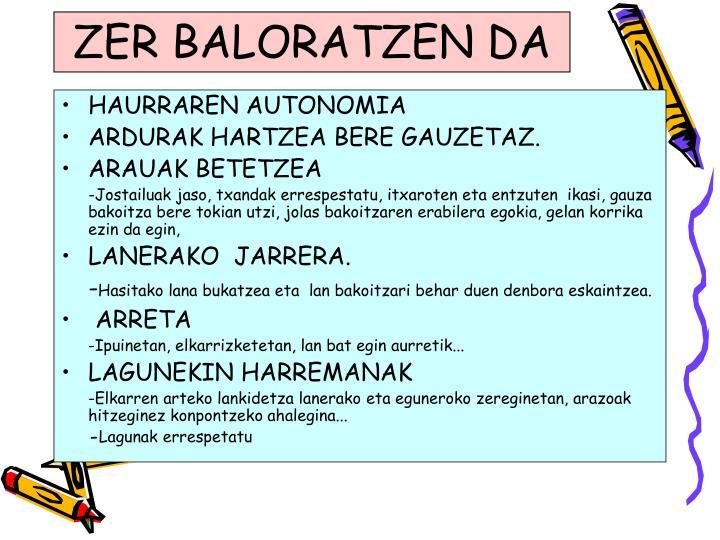 ZER BALORATZEN DA