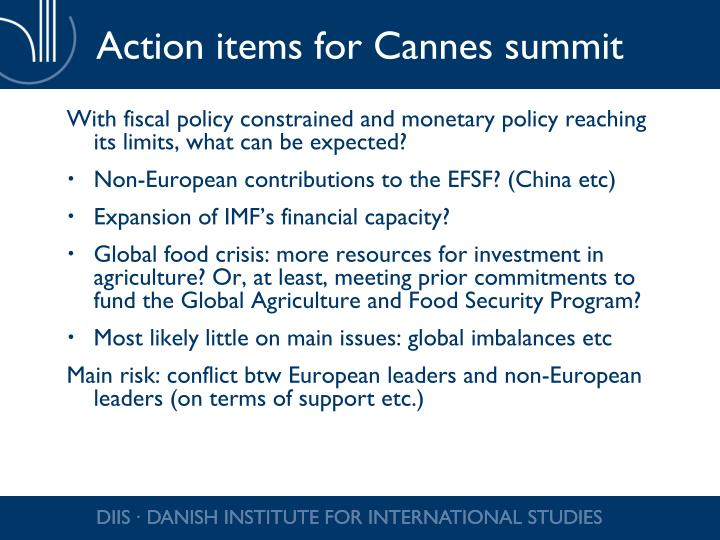 Action items for Cannes summit