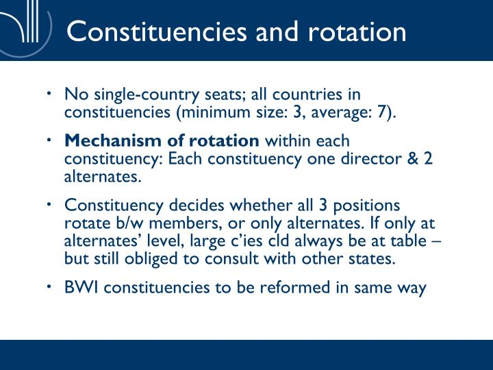 Constituencies and rotation