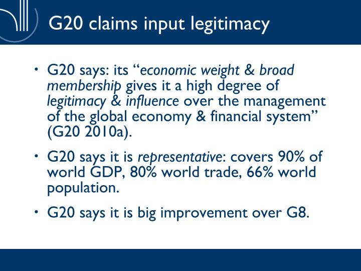 G20 claims input legitimacy