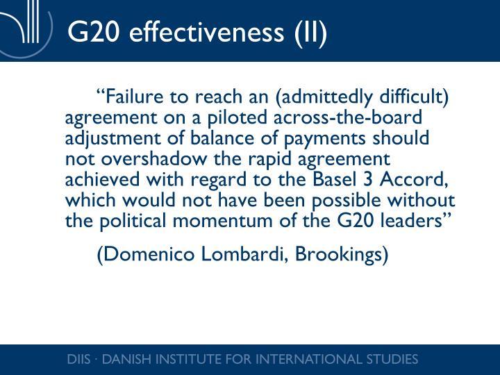 G20 effectiveness (II)