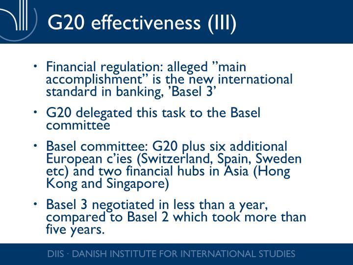 G20 effectiveness (III)