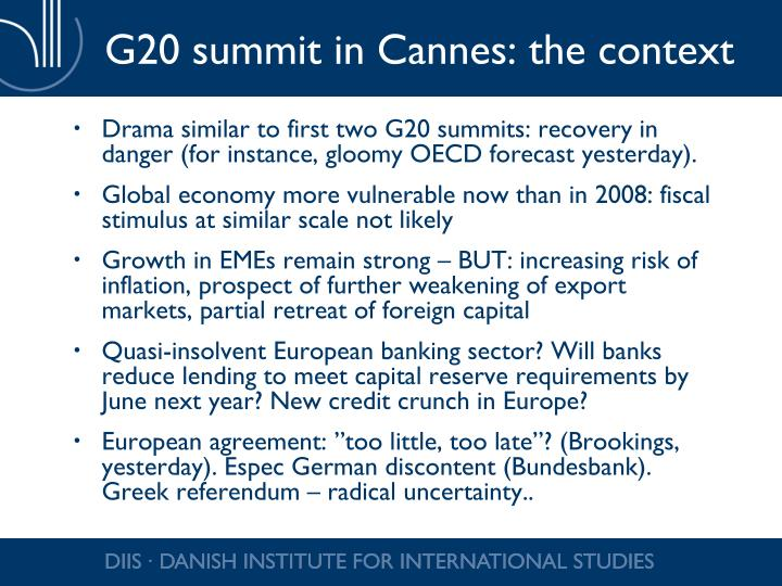 G20 summit in Cannes: the context