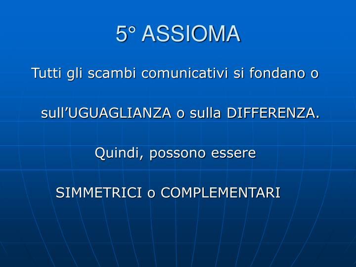 5° ASSIOMA