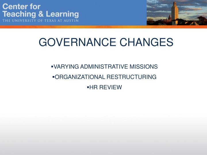 GOVERNANCE CHANGES