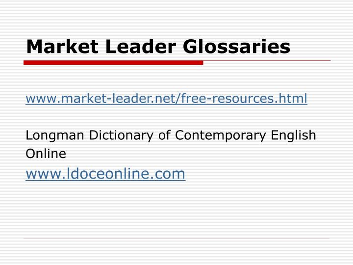 Market Leader Glossaries