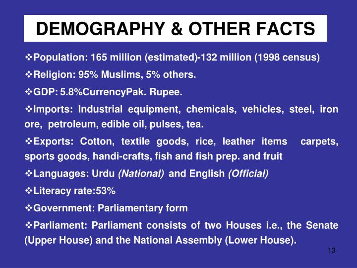DEMOGRAPHY & OTHER FACTS