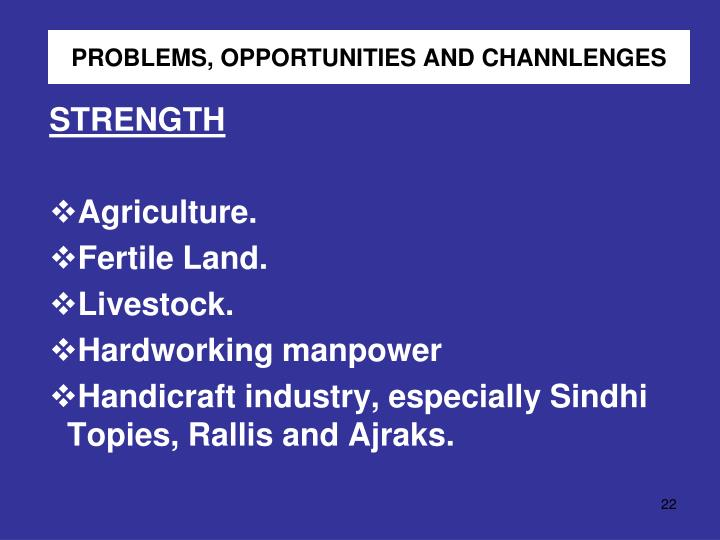 PROBLEMS, OPPORTUNITIES AND CHANNLENGES