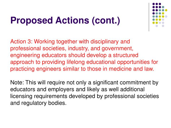 Proposed Actions (cont.)