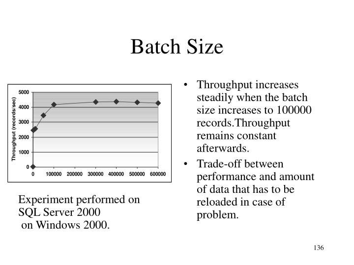 Throughput increases steadily when the batch size increases to 100000 records.Throughput remains constant afterwards.