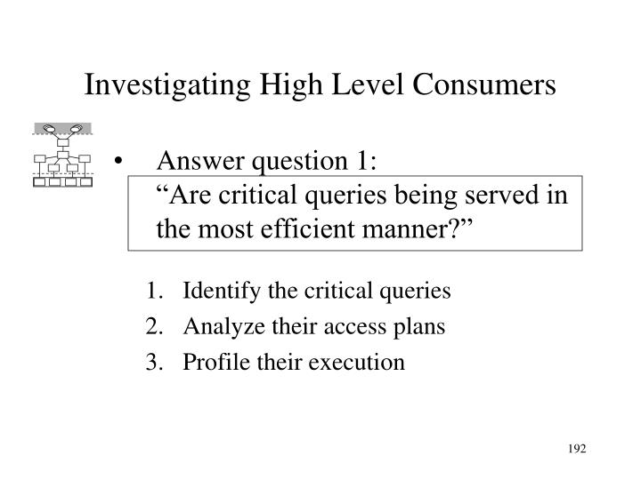 Investigating High Level Consumers