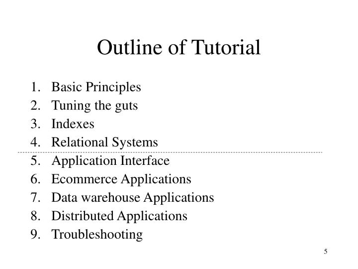 Outline of Tutorial