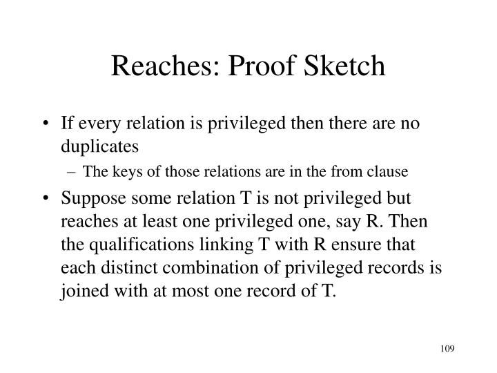 Reaches: Proof Sketch