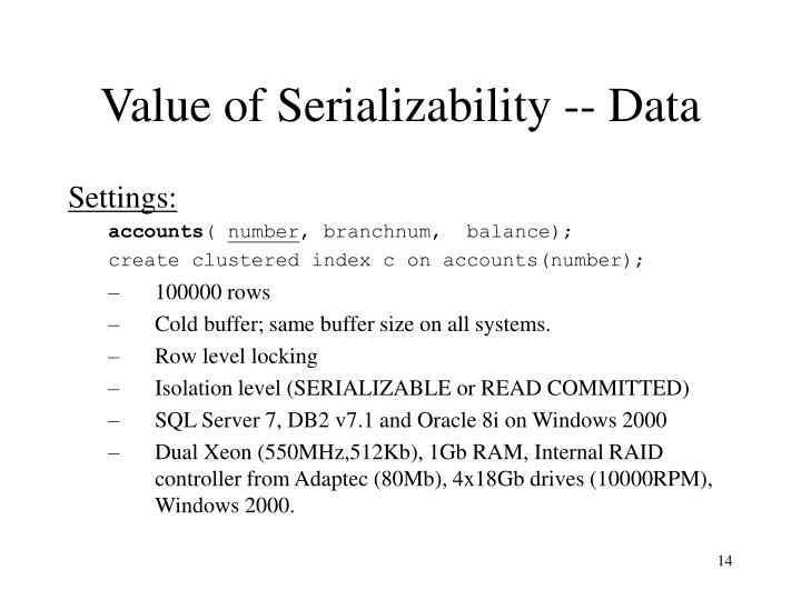 Value of Serializability -- Data