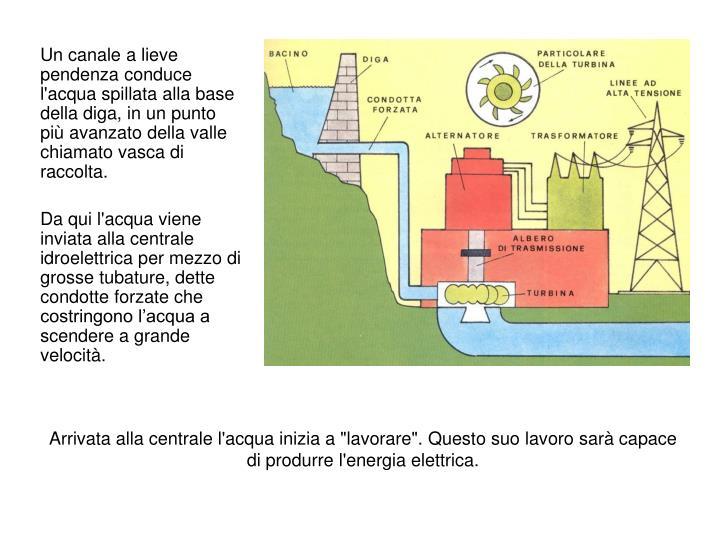 Un canale a lieve pendenza conduce l'acqua spillata alla base della diga, in un punto più avanzato della valle chiamato vasca di raccolta.