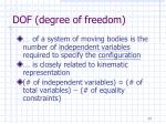 dof degree of freedom