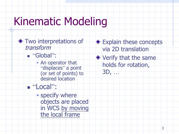 Kinematic modeling