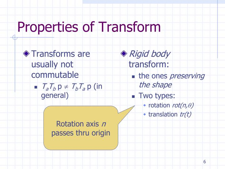 Transforms are usually not commutable