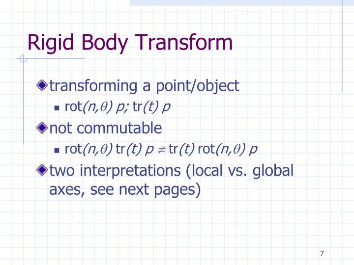 Rigid Body Transform
