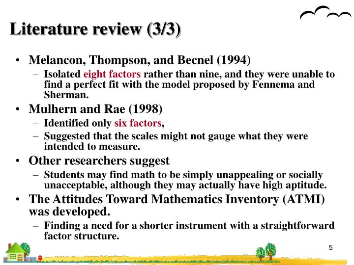 Literature review (3/3)