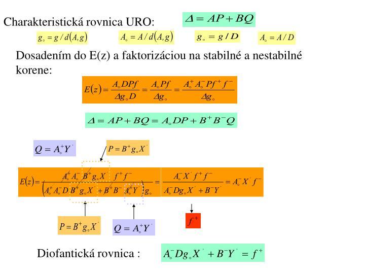 Charakteristická rovnica URO: