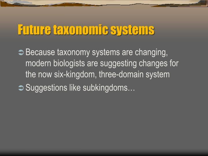 Future taxonomic systems