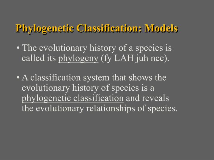 Phylogenetic Classification: Models