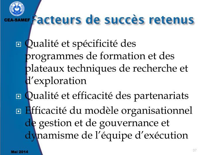Facteurs de succès retenus