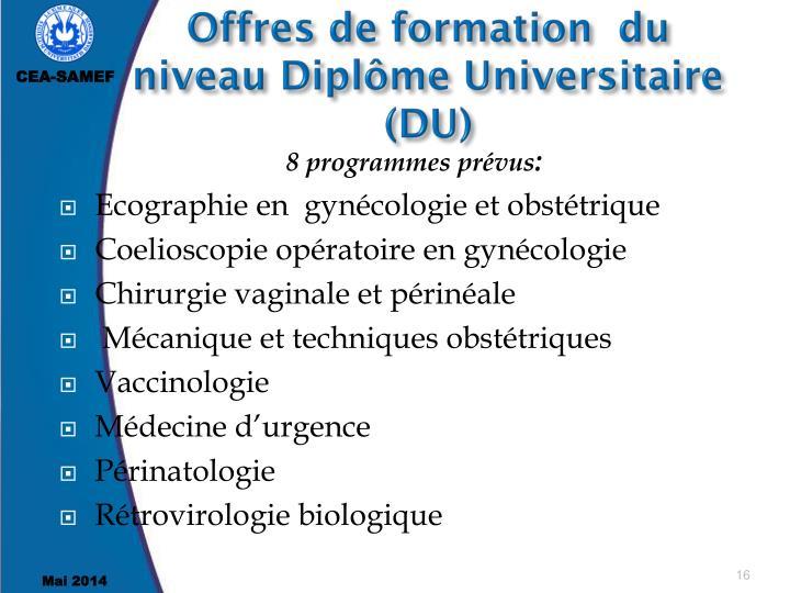Offres de formation  du  niveau Diplôme Universitaire (DU)