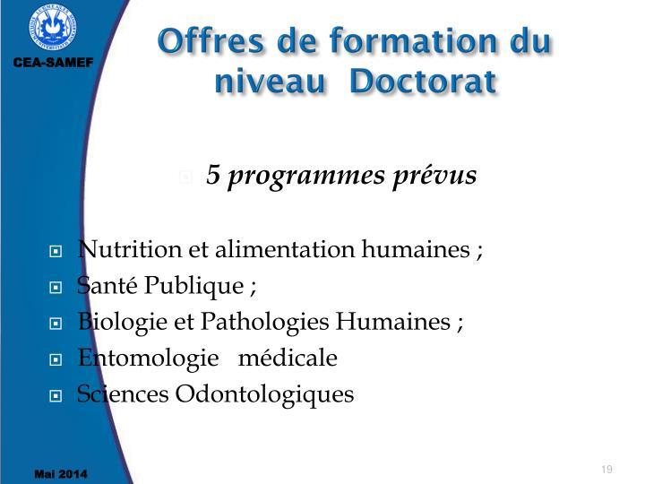 Offres de formation du niveau  Doctorat