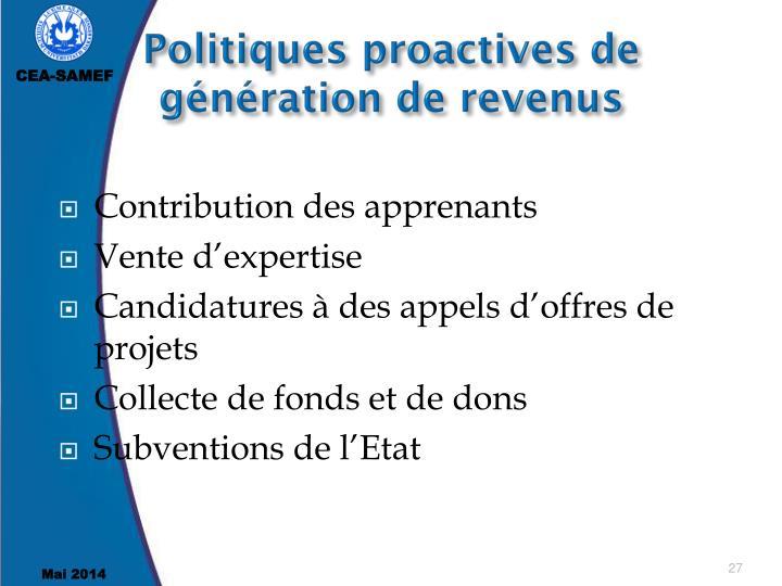 Politiques proactives de génération de revenus