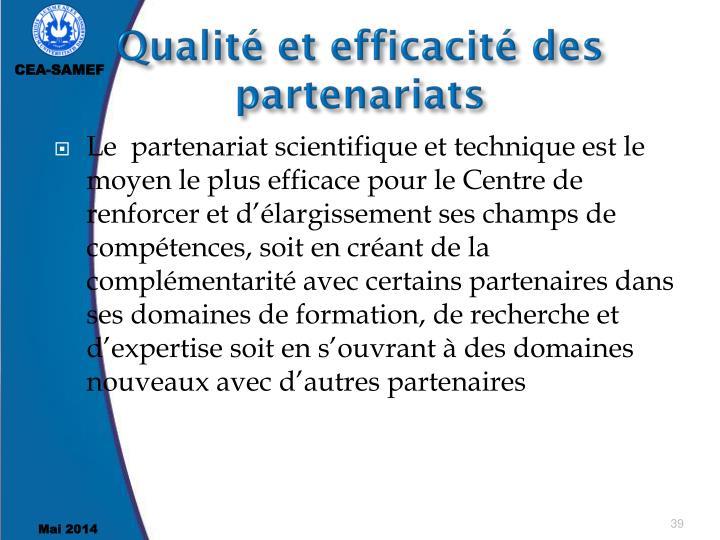 Qualité et efficacité des partenariats