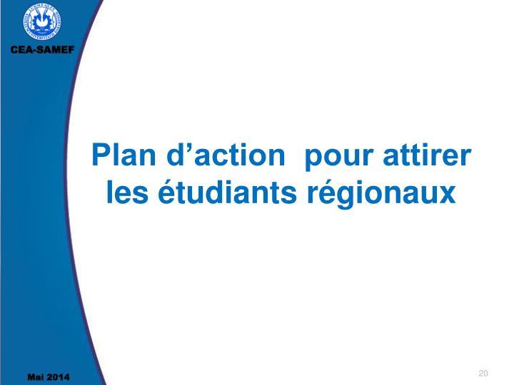 Plan d'action  pour attirer les étudiants régionaux
