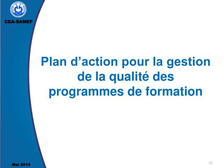 Plan d'action pour la gestion de la qualité des programmes de formation