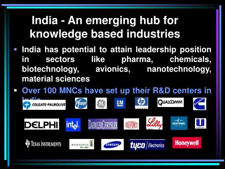 India - An emerging hub for knowledge based industries