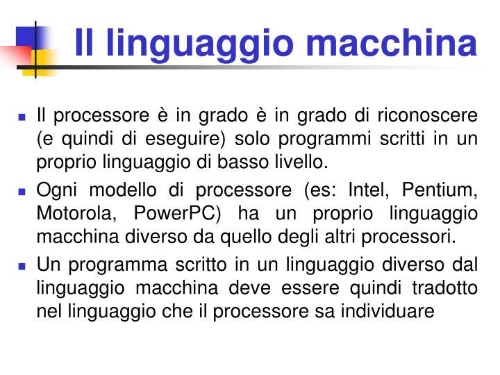 Il linguaggio macchina