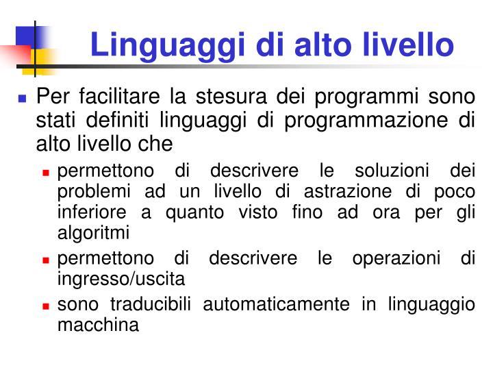 Linguaggi di alto livello
