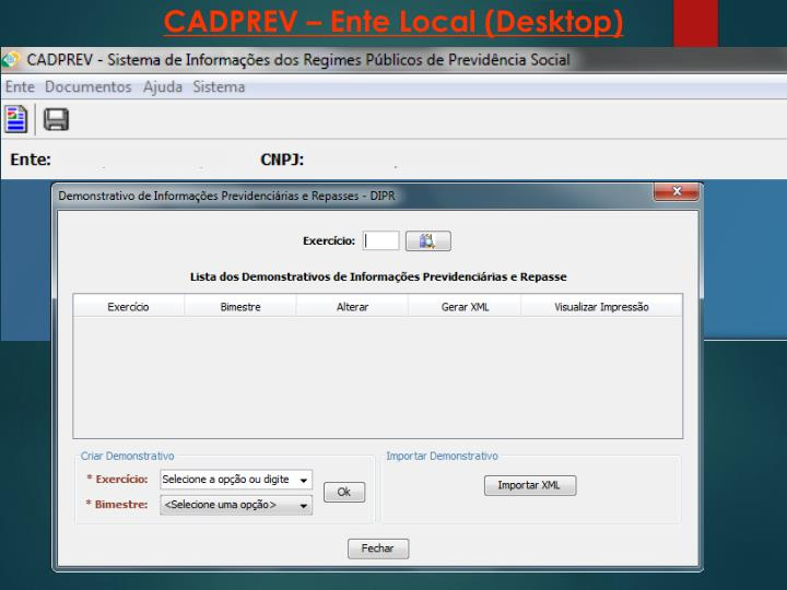 CADPREV – Ente Local (Desktop)
