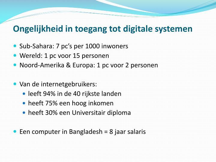 Ongelijkheid in toegang tot digitale systemen