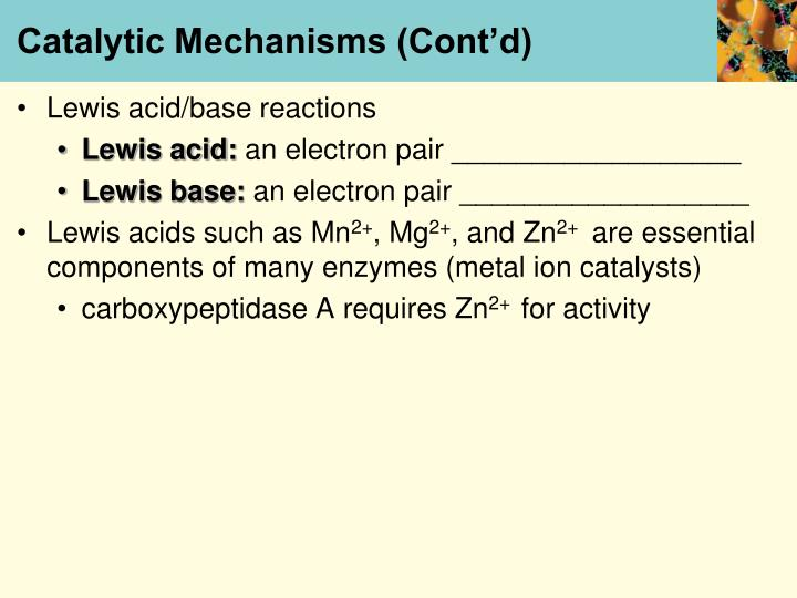 Catalytic Mechanisms (Cont'd)